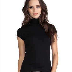 Super soft Short Sleeve Black Turtleneck Sweater